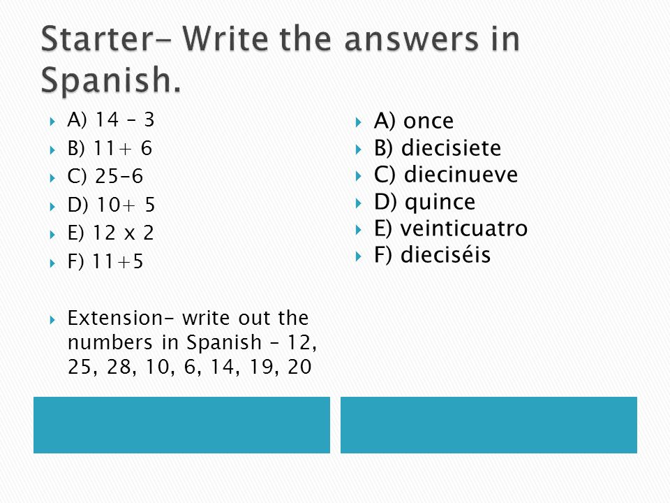 Starter- Write the answers in Spanish.