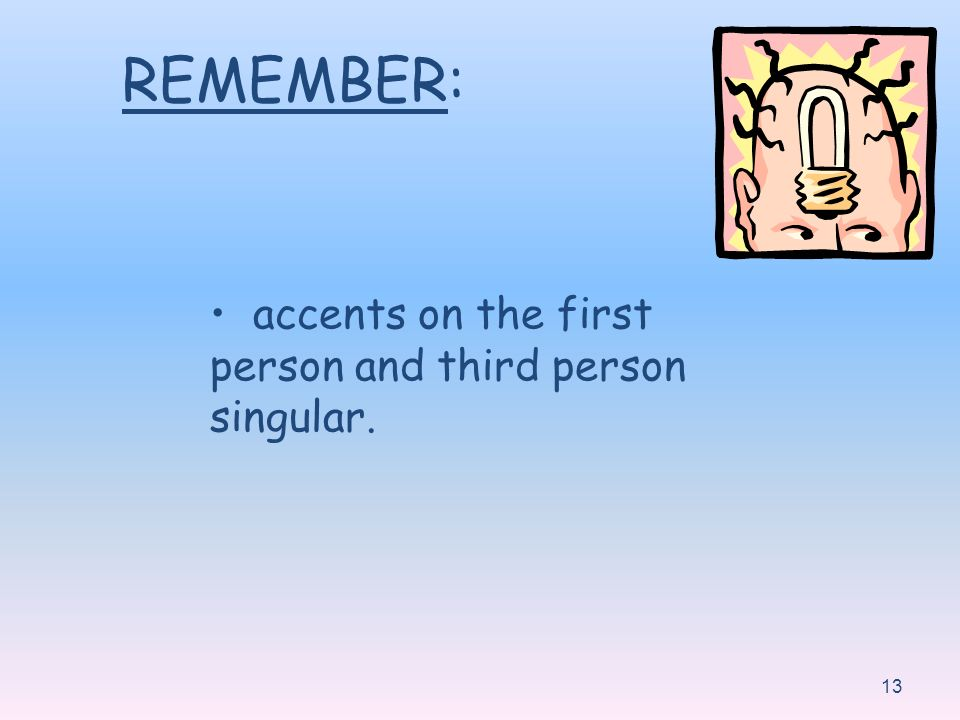 REMEMBER: accents on the first person and third person singular.