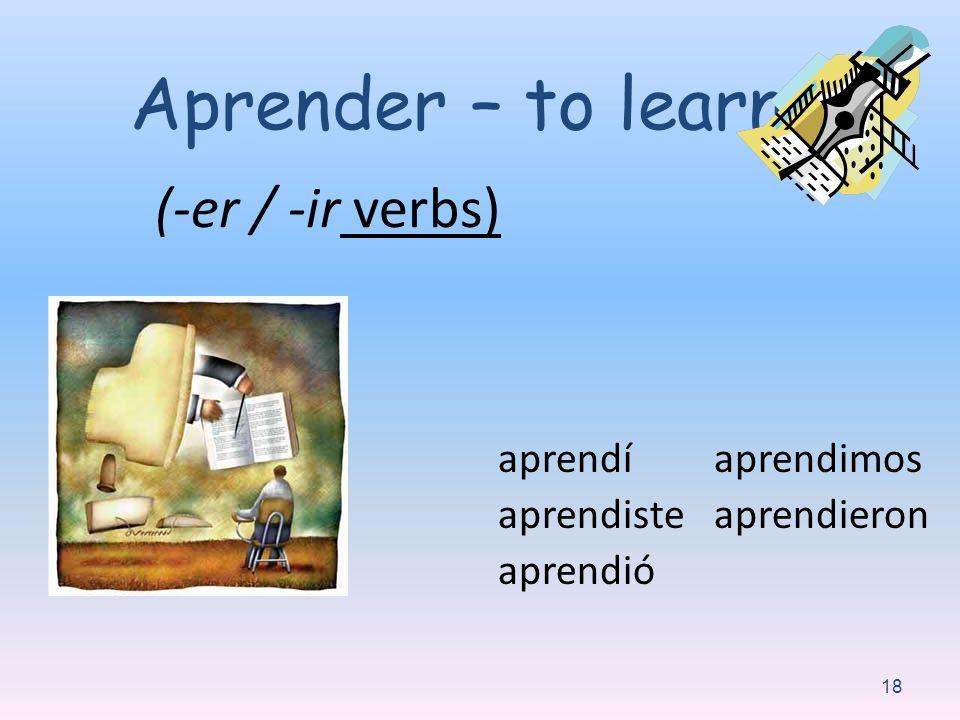Aprender – to learn: (-er / -ir verbs) aprendí aprendiste aprendió