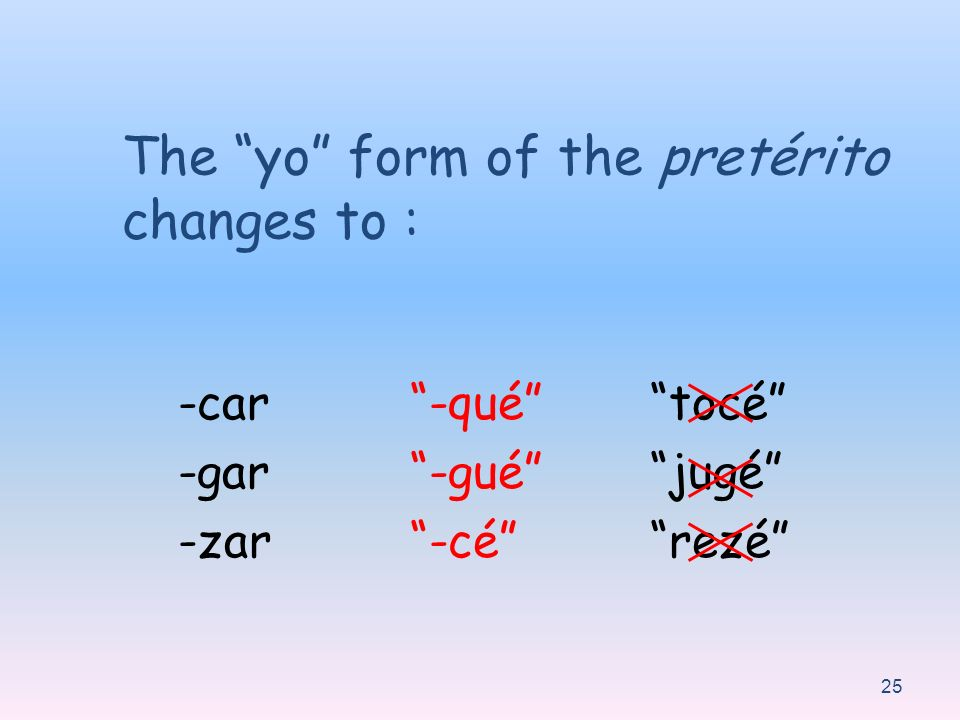 The yo form of the pretérito changes to :