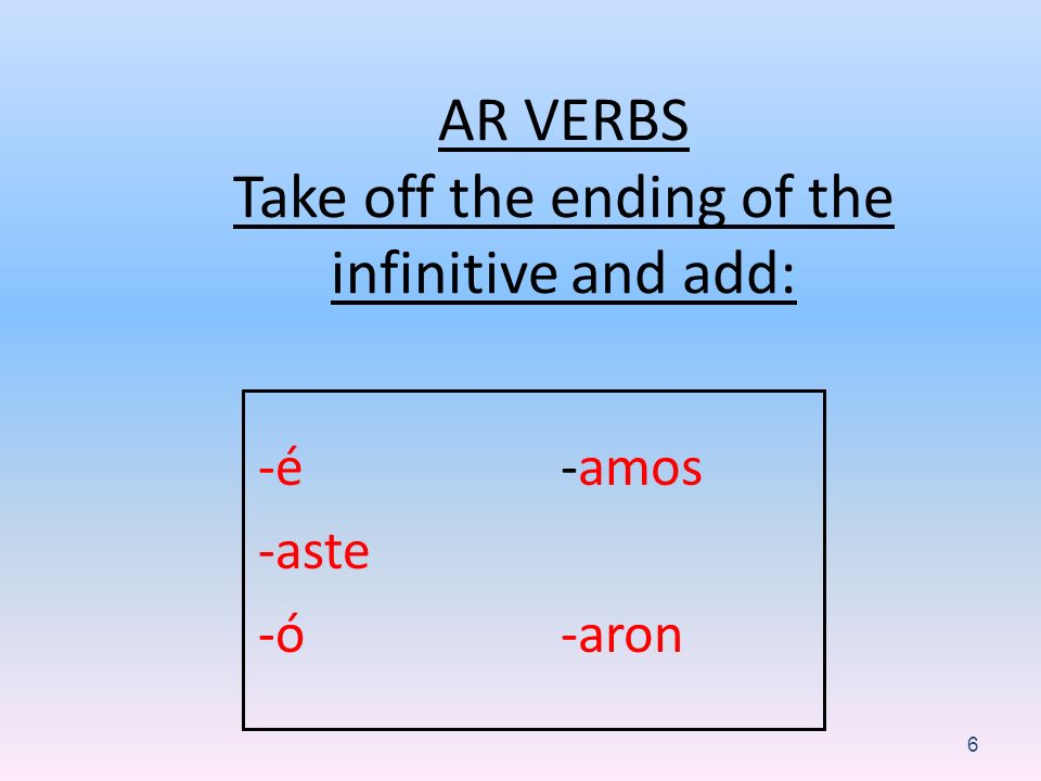 AR VERBS Take off the ending of the infinitive and add: