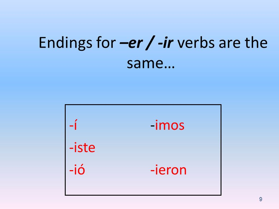 Endings for –er / -ir verbs are the same…