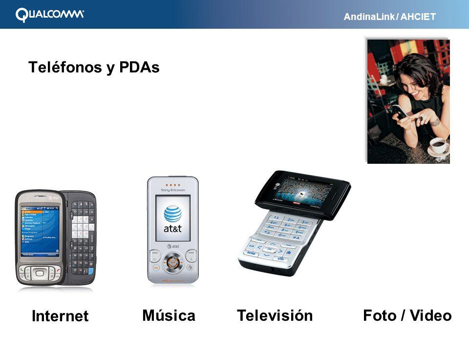 Teléfonos y PDAs Internet Música Televisión Foto / Video