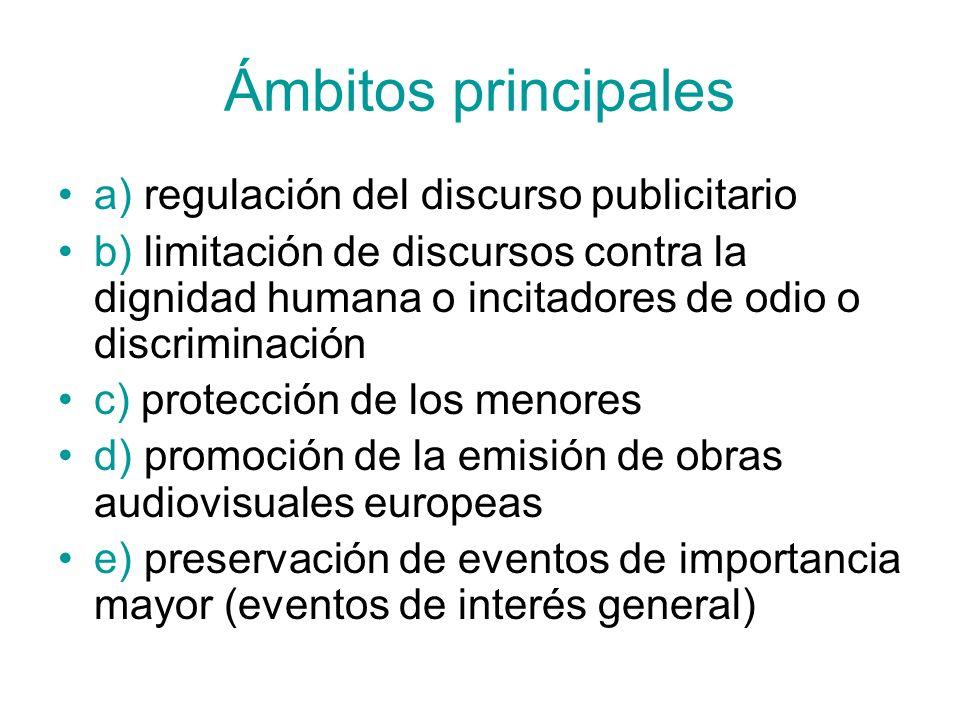 Ámbitos principales a) regulación del discurso publicitario