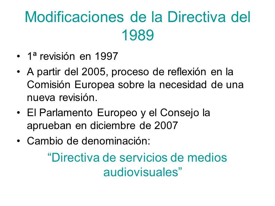 Modificaciones de la Directiva del 1989
