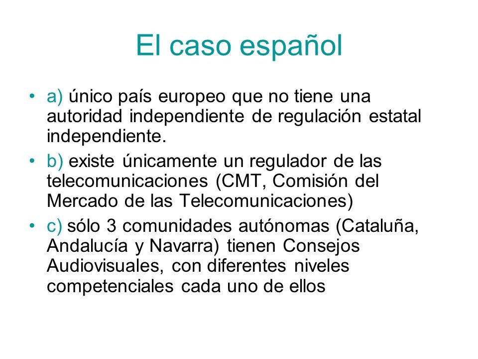 El caso española) único país europeo que no tiene una autoridad independiente de regulación estatal independiente.