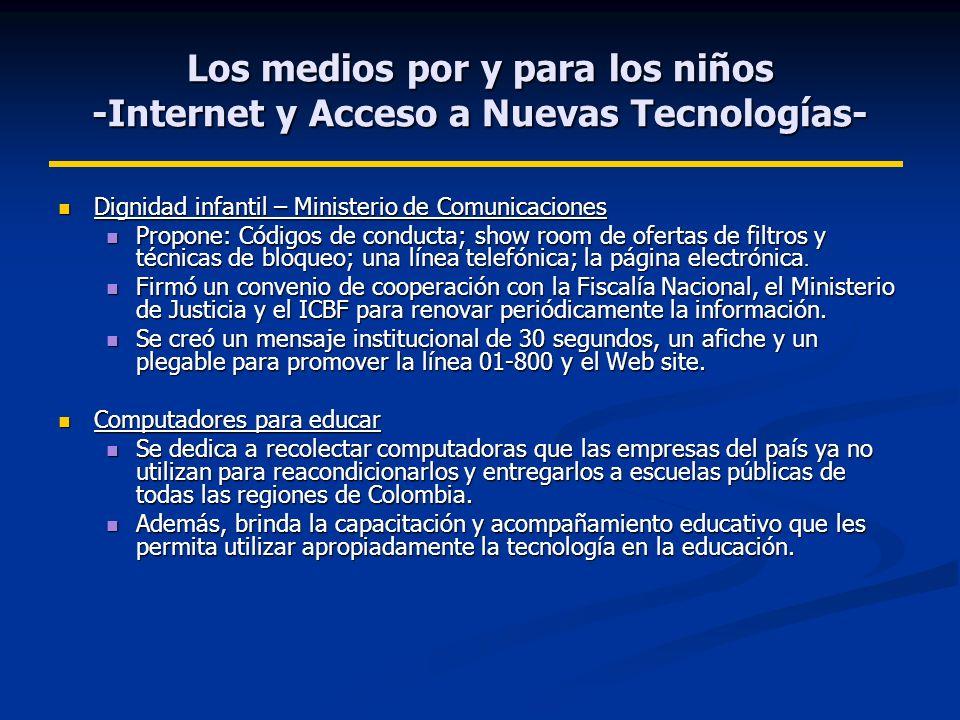 Los medios por y para los niños -Internet y Acceso a Nuevas Tecnologías-