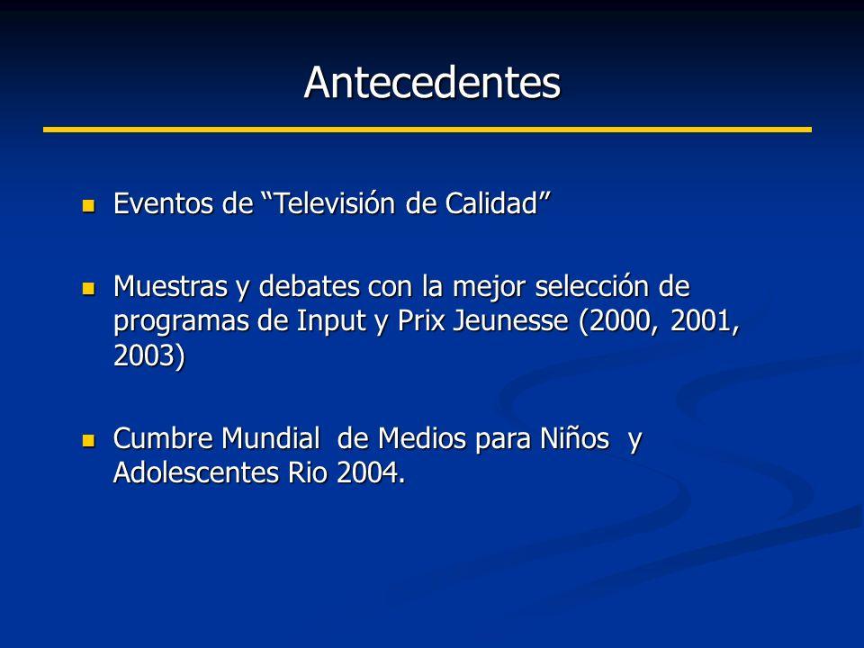 Antecedentes Eventos de Televisión de Calidad