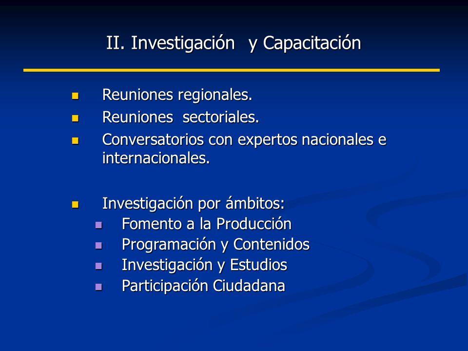 II. Investigación y Capacitación