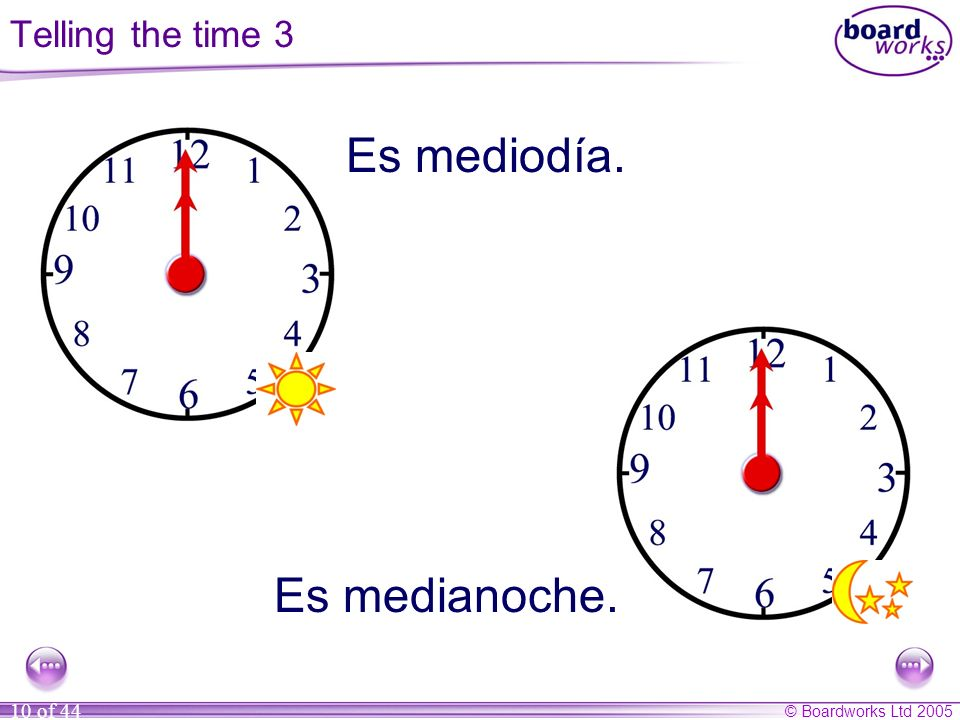 Es mediodía. Es medianoche. Telling the time 3
