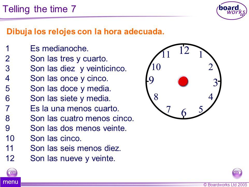 Dibuja los relojes con la hora adecuada.
