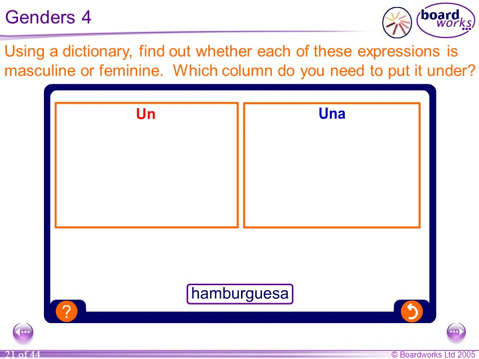 Genders 4Using a dictionary, find out whether each of these expressions is masculine or feminine.