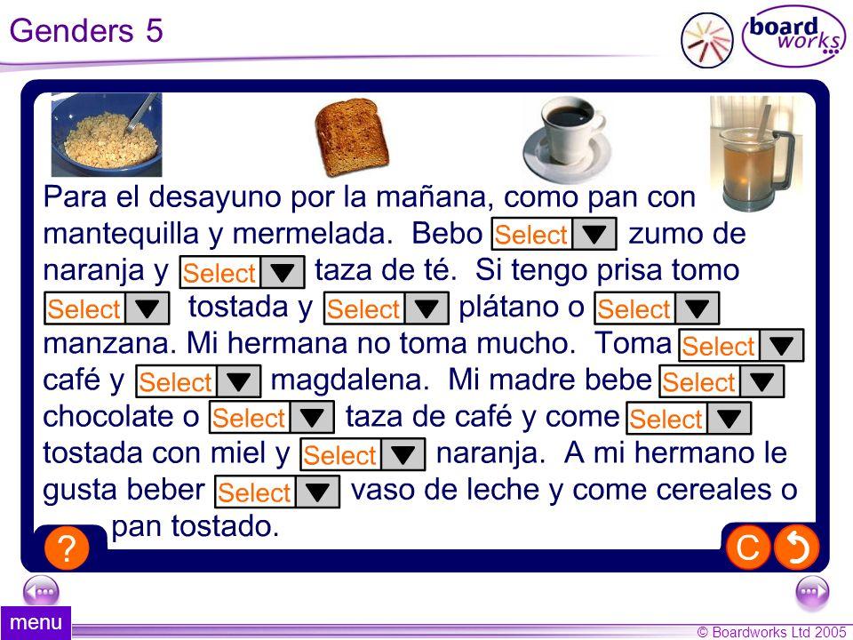 Genders 5 menu