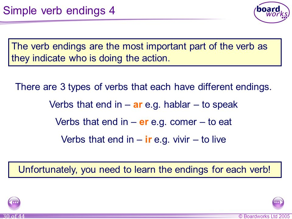 Simple verb endings 4 The verb endings are the most important part of the verb as they indicate who is doing the action.