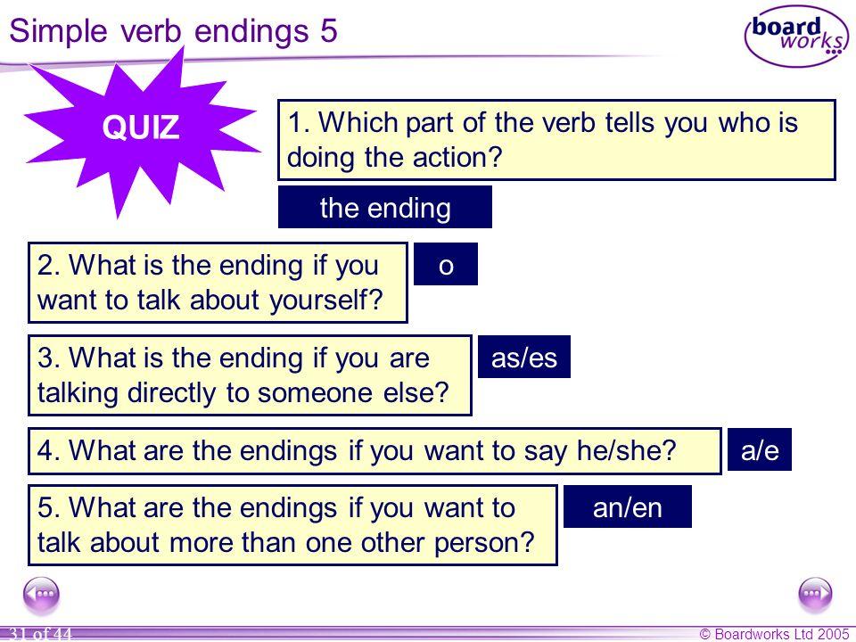 Simple verb endings 5 QUIZ