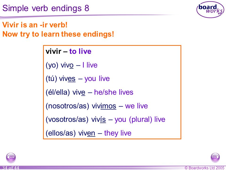 Simple verb endings 8 Vivir is an -ir verb!