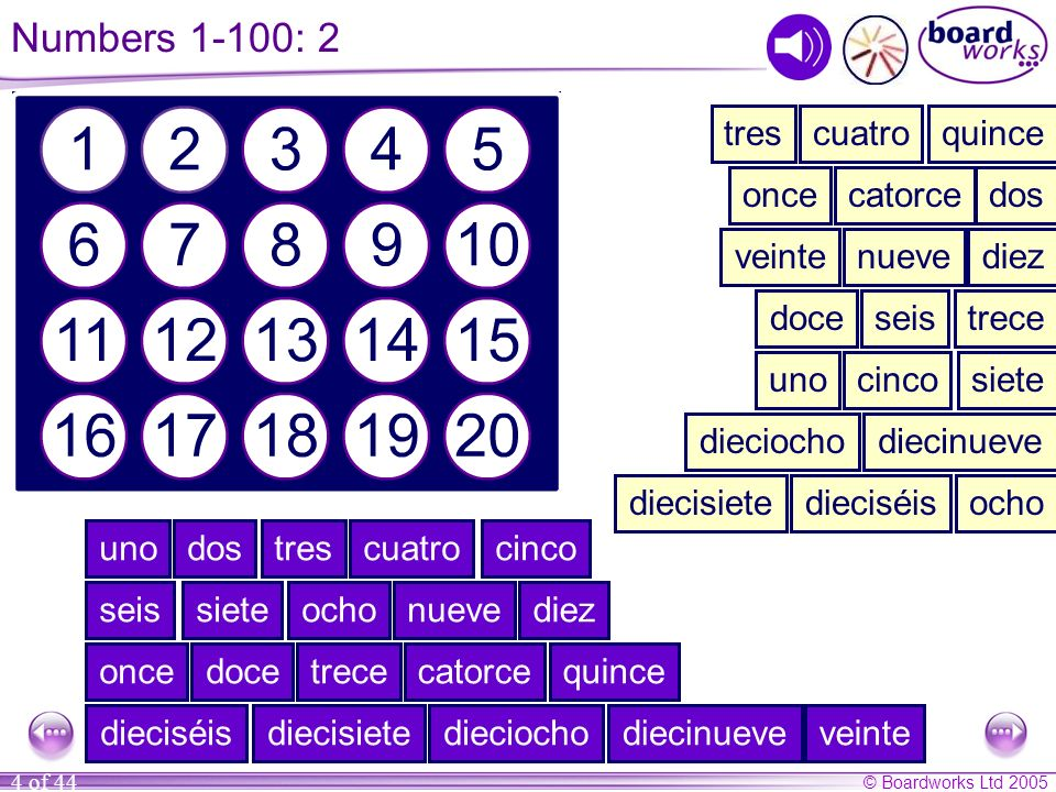 Numbers 1-100: 2 tres cuatro quince once catorce dos veinte nueve diez
