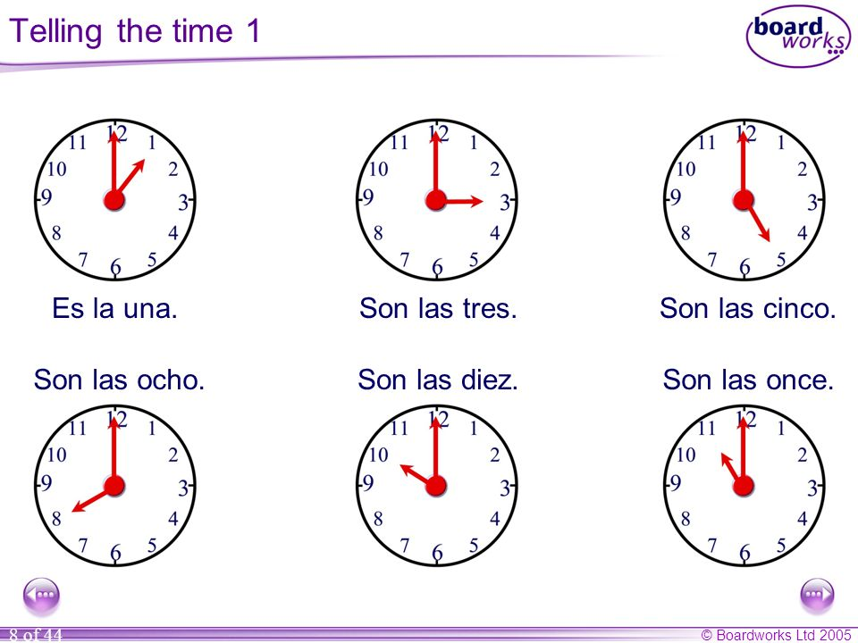 Telling the time 1 Es la una. Son las tres. Son las cinco.