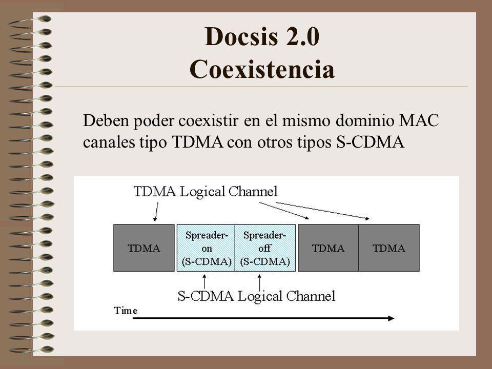 Docsis 2.0 Coexistencia Deben poder coexistir en el mismo dominio MAC