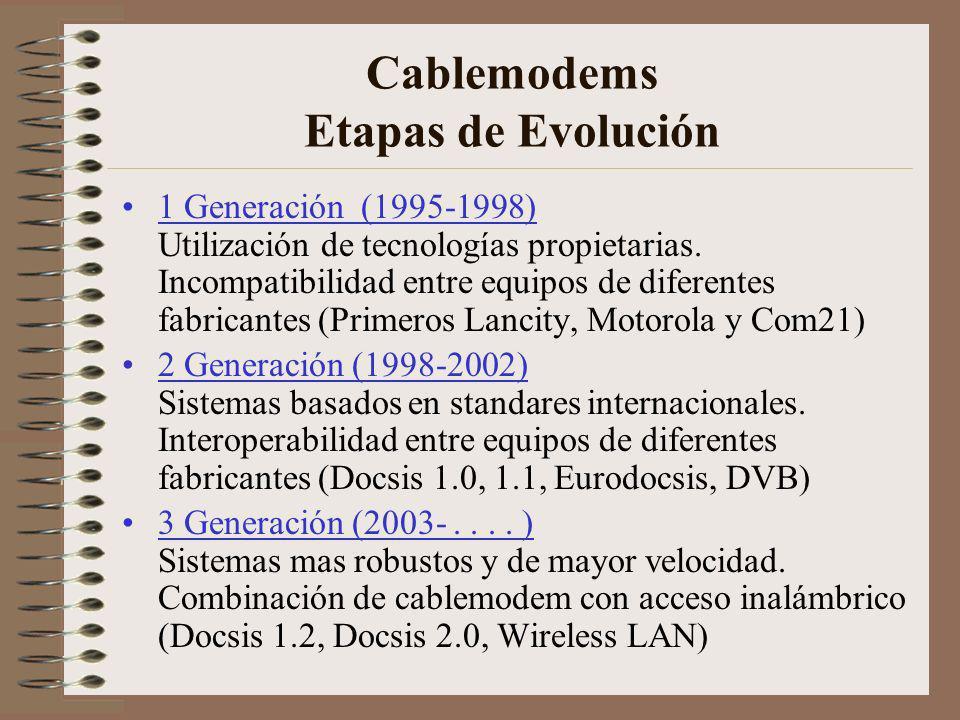 Cablemodems Etapas de Evolución