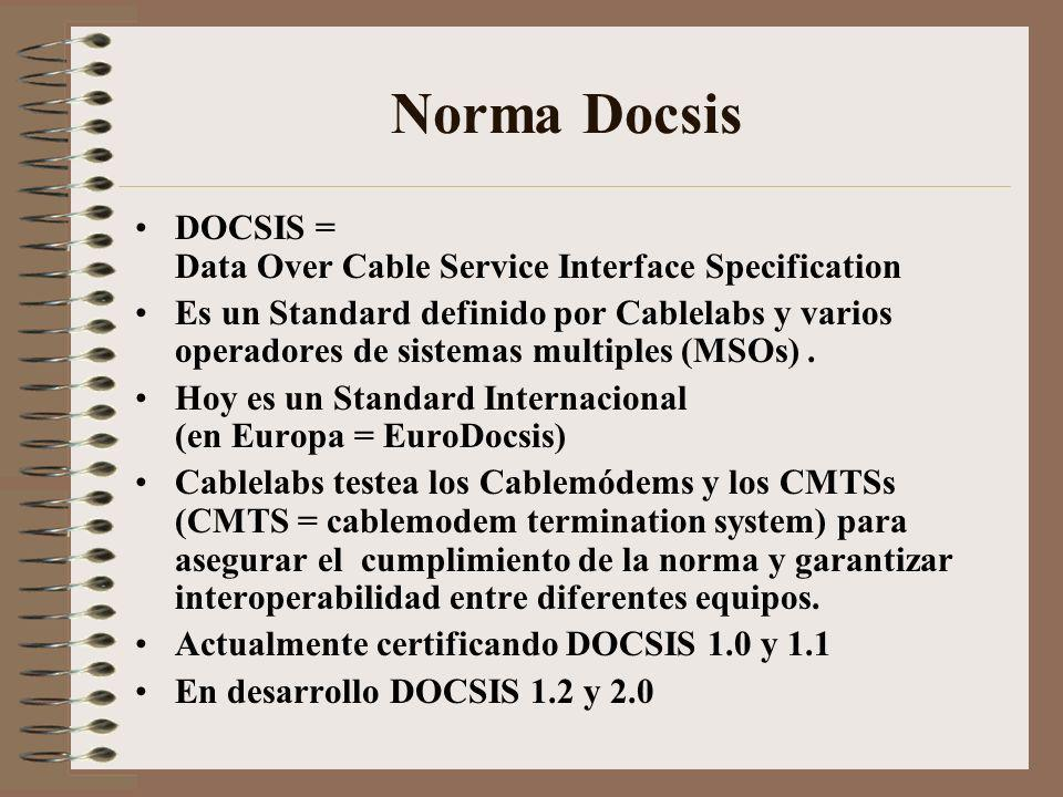 Norma Docsis DOCSIS = Data Over Cable Service Interface Specification