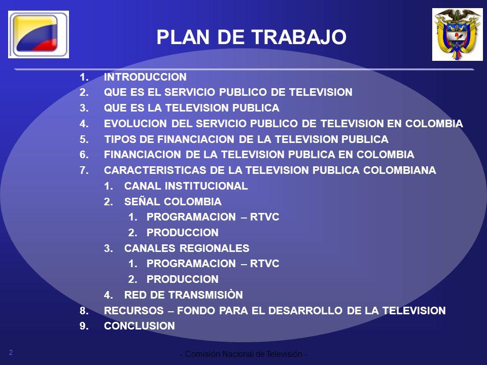 PLAN DE TRABAJO INTRODUCCION QUE ES EL SERVICIO PUBLICO DE TELEVISION