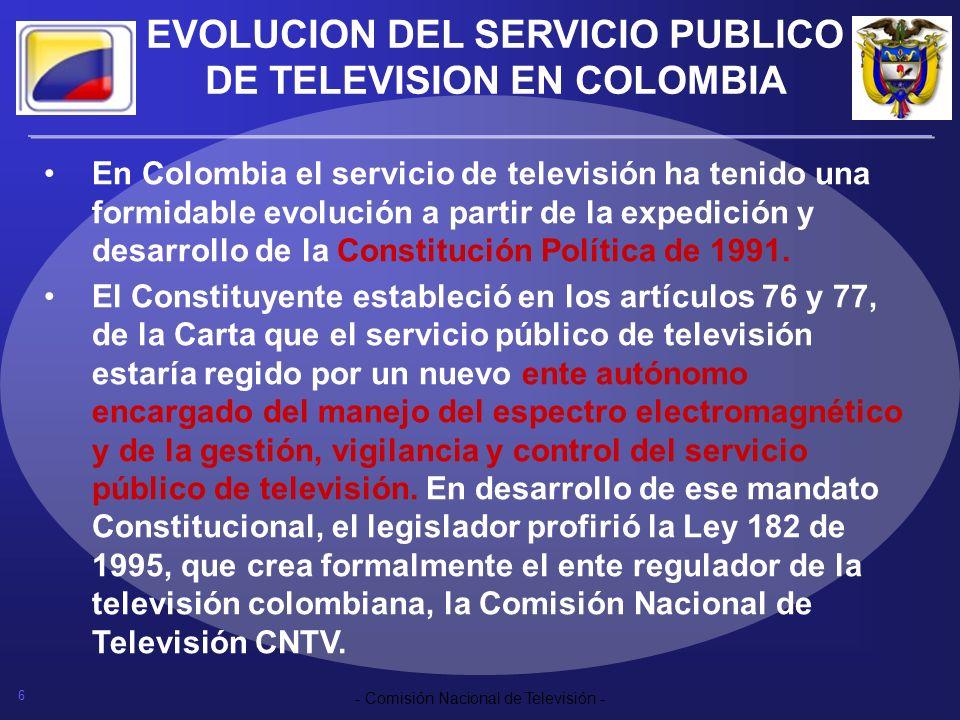 EVOLUCION DEL SERVICIO PUBLICO DE TELEVISION EN COLOMBIA