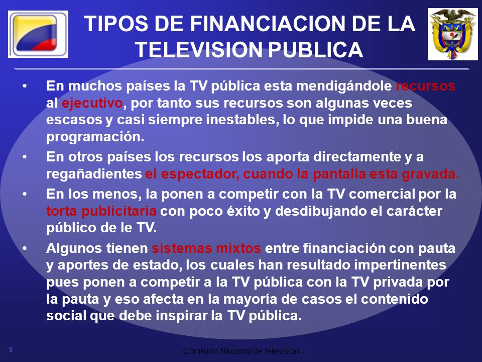 TIPOS DE FINANCIACION DE LA TELEVISION PUBLICA
