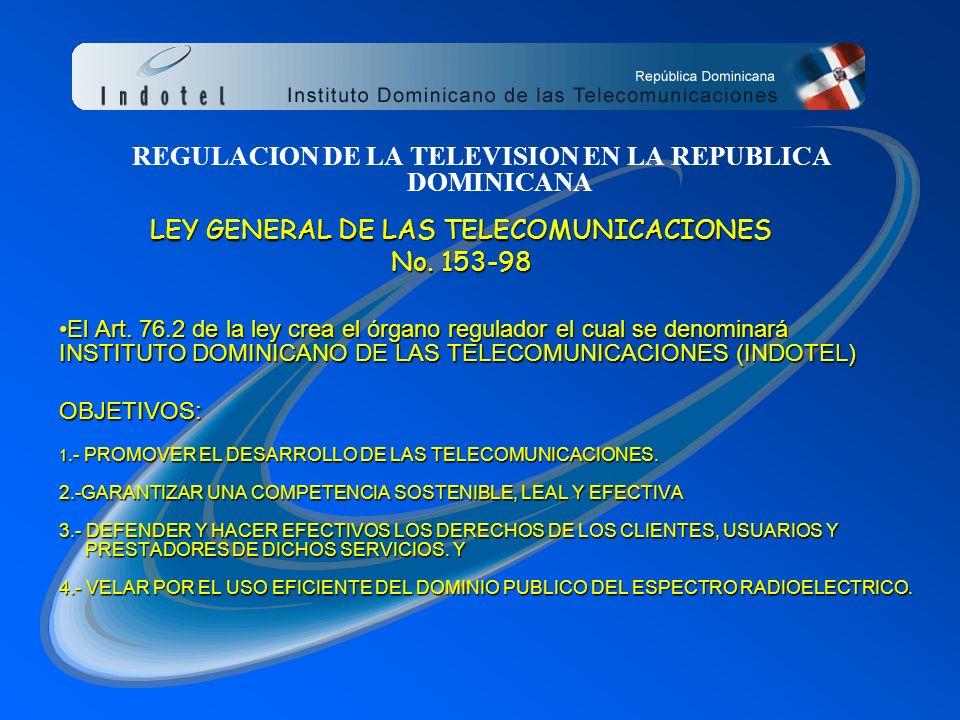 REGULACION DE LA TELEVISION EN LA REPUBLICA DOMINICANA