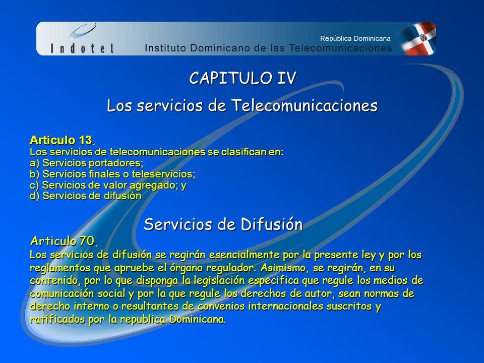 Los servicios de Telecomunicaciones
