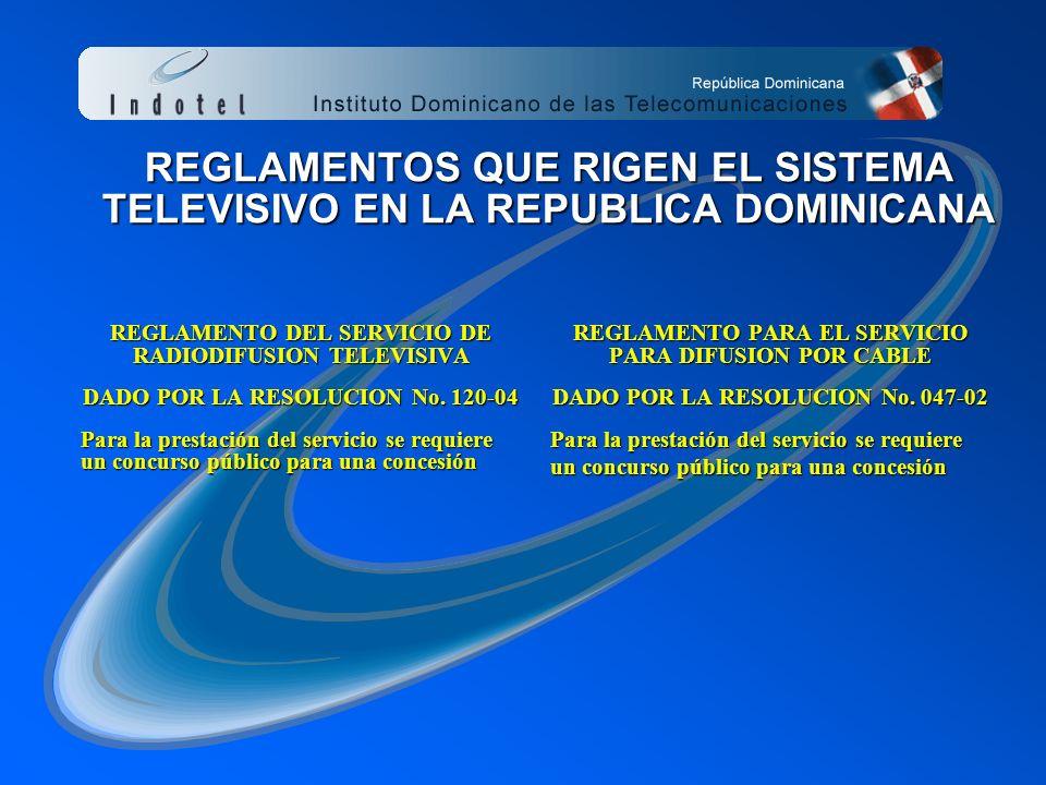 REGLAMENTOS QUE RIGEN EL SISTEMA TELEVISIVO EN LA REPUBLICA DOMINICANA