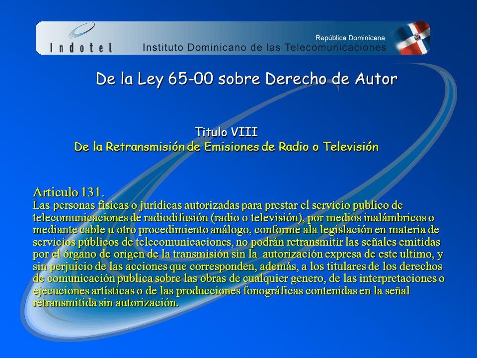 De la Ley 65-00 sobre Derecho de Autor