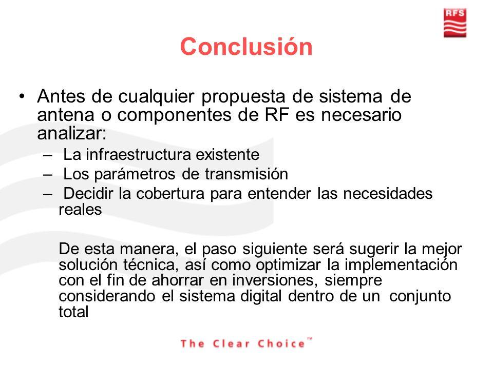 Conclusión Antes de cualquier propuesta de sistema de antena o componentes de RF es necesario analizar: