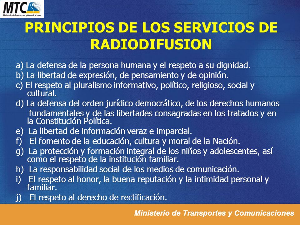 PRINCIPIOS DE LOS SERVICIOS DE RADIODIFUSION