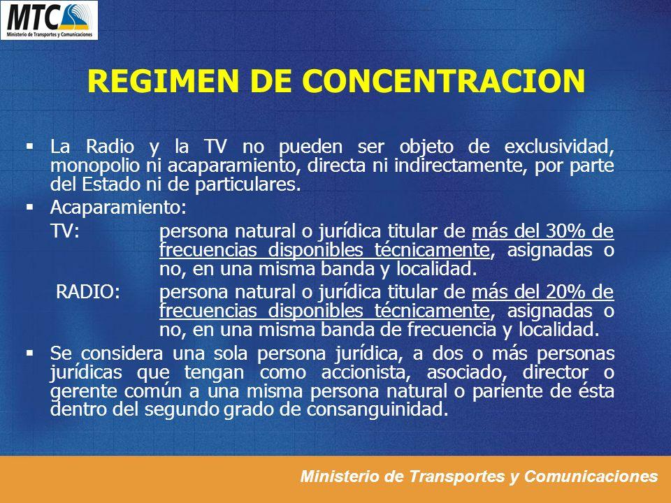 REGIMEN DE CONCENTRACION