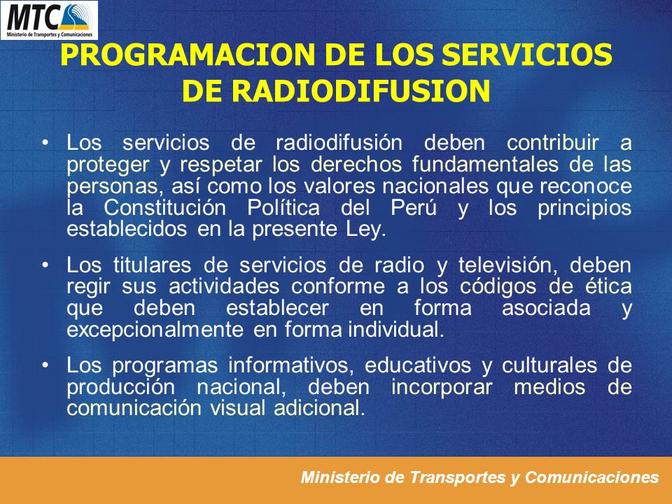 PROGRAMACION DE LOS SERVICIOS DE RADIODIFUSION