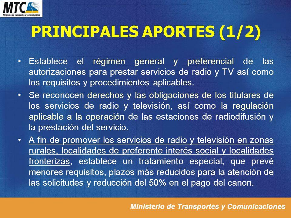 PRINCIPALES APORTES (1/2)