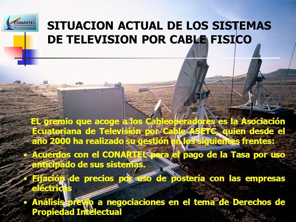 SITUACION ACTUAL DE LOS SISTEMAS DE TELEVISION POR CABLE FISICO