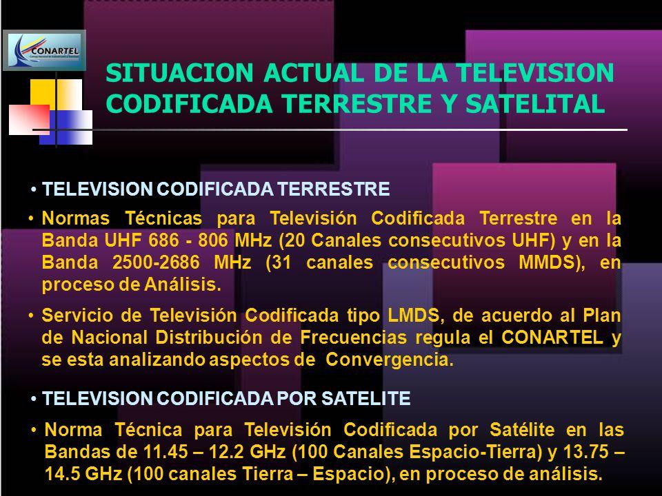 SITUACION ACTUAL DE LA TELEVISION CODIFICADA TERRESTRE Y SATELITAL