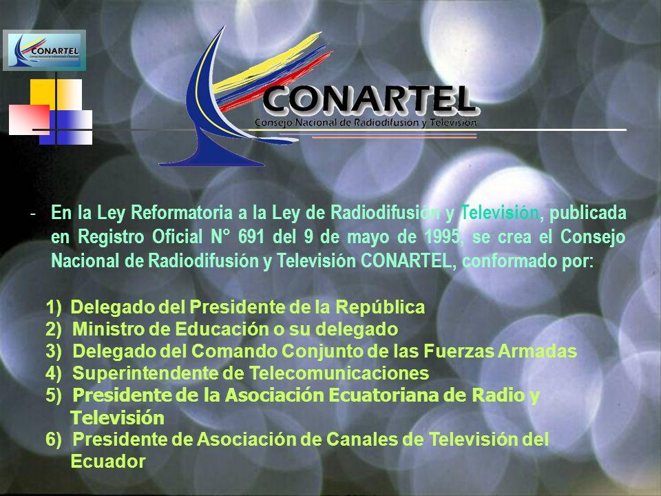 En la Ley Reformatoria a la Ley de Radiodifusión y Televisión, publicada en Registro Oficial N° 691 del 9 de mayo de 1995, se crea el Consejo Nacional de Radiodifusión y Televisión CONARTEL, conformado por: