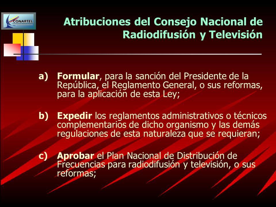 Atribuciones del Consejo Nacional de Radiodifusión y Televisión