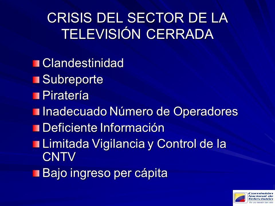 CRISIS DEL SECTOR DE LA TELEVISIÓN CERRADA