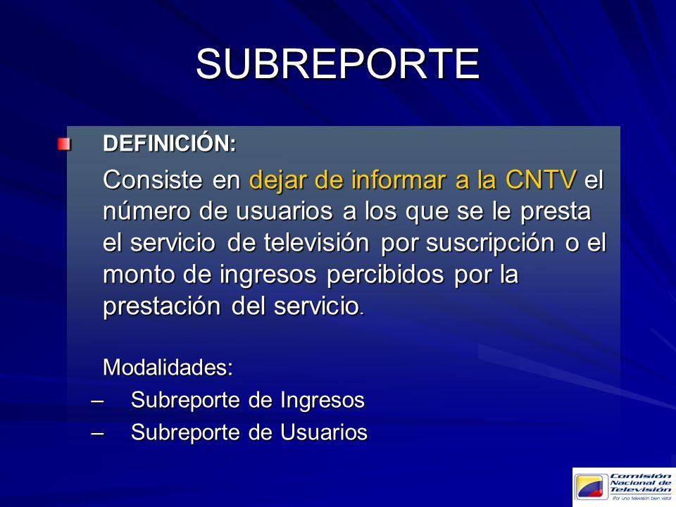 SUBREPORTE DEFINICIÓN: Subreporte de Ingresos Subreporte de Usuarios