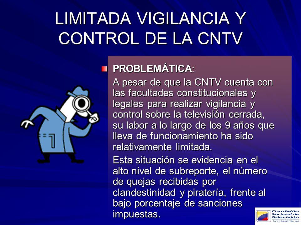 LIMITADA VIGILANCIA Y CONTROL DE LA CNTV