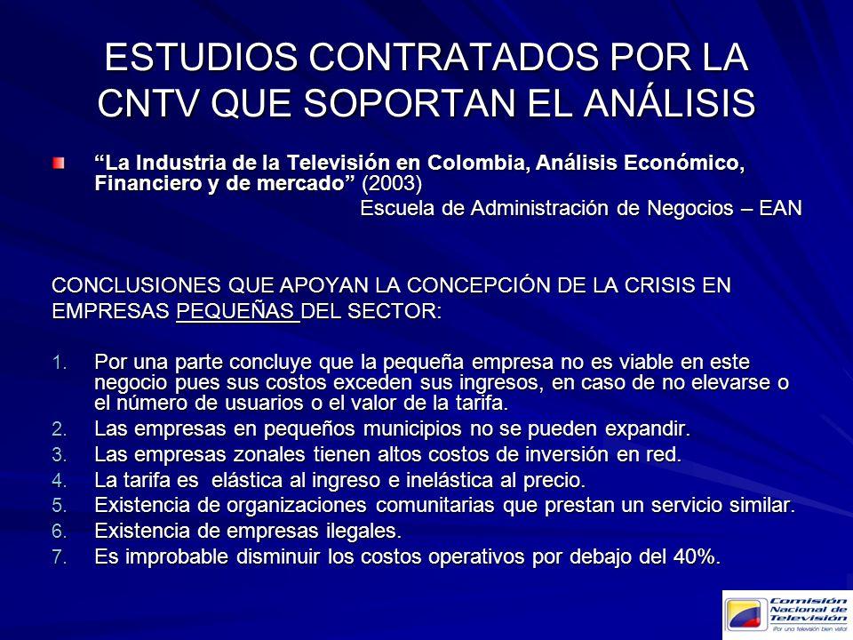 ESTUDIOS CONTRATADOS POR LA CNTV QUE SOPORTAN EL ANÁLISIS
