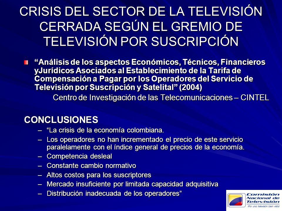 CRISIS DEL SECTOR DE LA TELEVISIÓN CERRADA SEGÚN EL GREMIO DE TELEVISIÓN POR SUSCRIPCIÓN