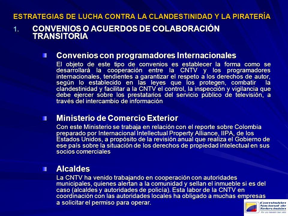 CONVENIOS O ACUERDOS DE COLABORACIÓN TRANSITORIA