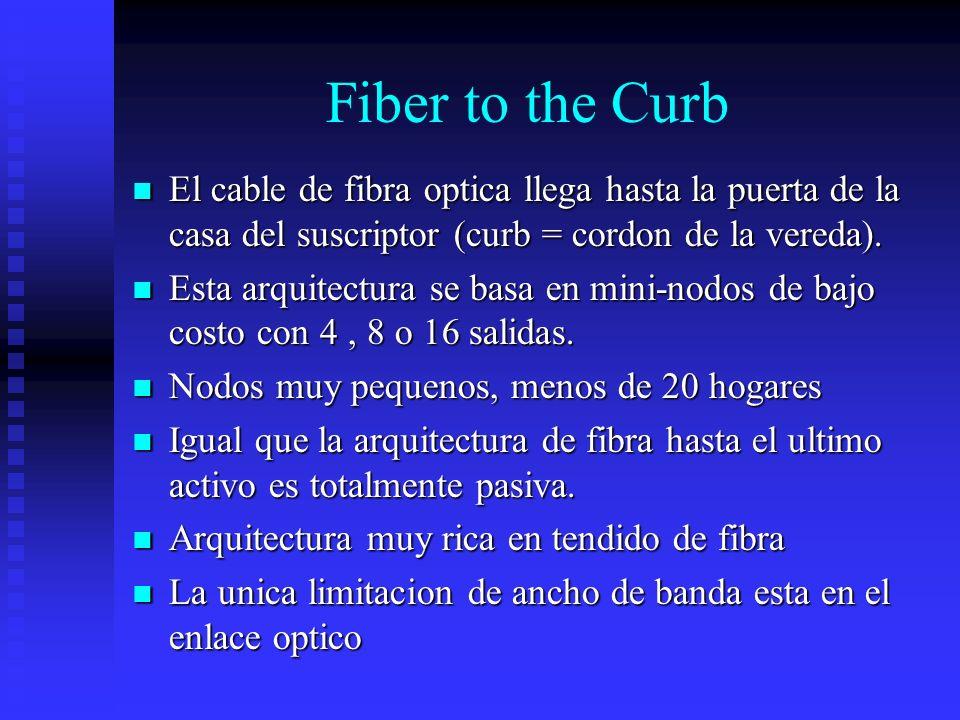 Fiber to the Curb El cable de fibra optica llega hasta la puerta de la casa del suscriptor (curb = cordon de la vereda).