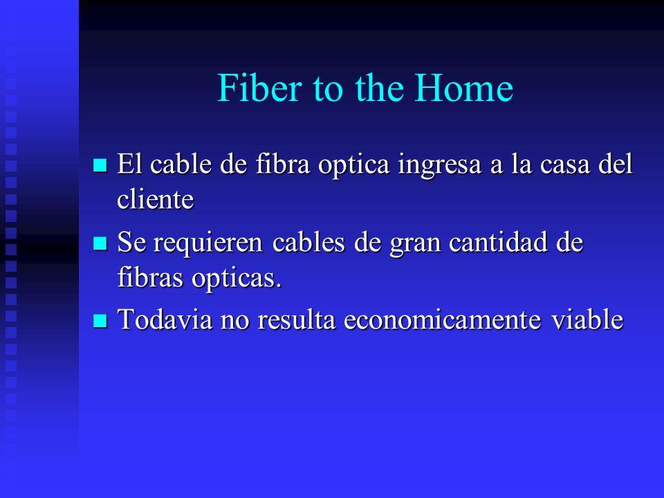 Fiber to the Home El cable de fibra optica ingresa a la casa del cliente. Se requieren cables de gran cantidad de fibras opticas.
