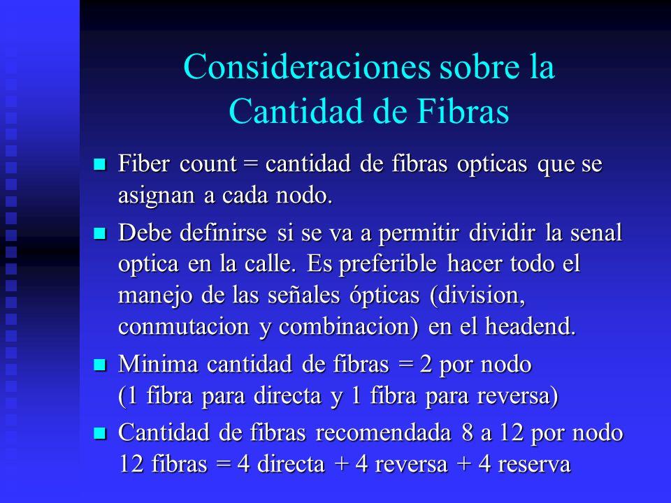 Consideraciones sobre la Cantidad de Fibras